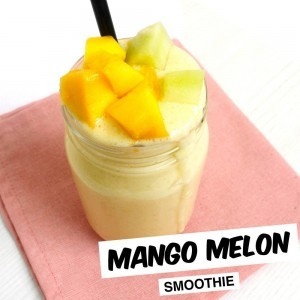 Mango melón smoothie příprava.