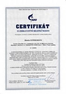 certifikát zdravotní bezpečnosti Blendea SUPERGREENS