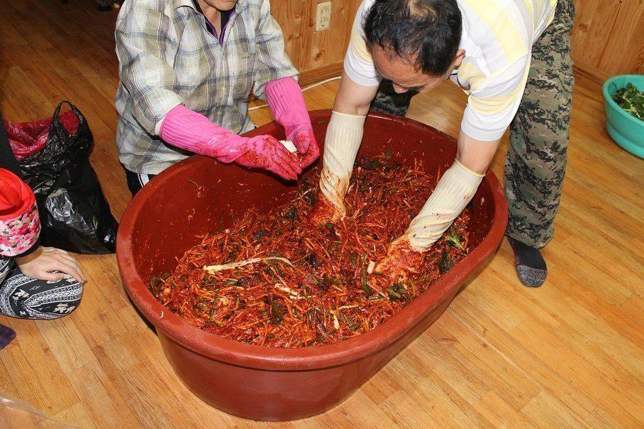 výroba korejského kimchi