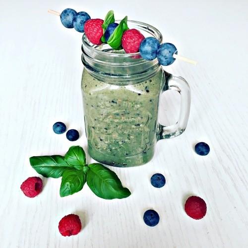 malinovo - borůvkové smoothie