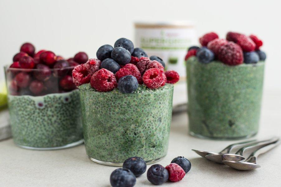 Zelený chia pudink s Blendeou SUPERGREENS