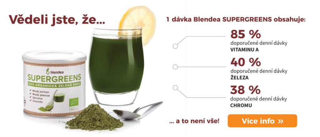 Obsah vitamínů a minerálů v zelené směsi Blendea SUPERGREENS.