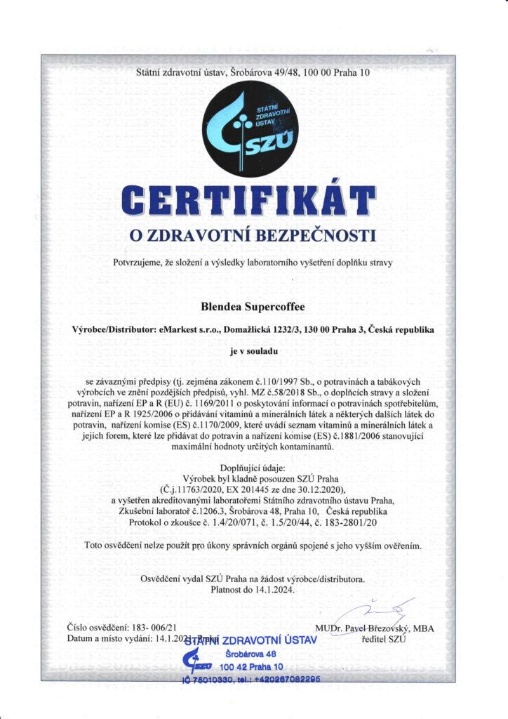 Blendea SUPERCOFFEE certifikát SZÚ