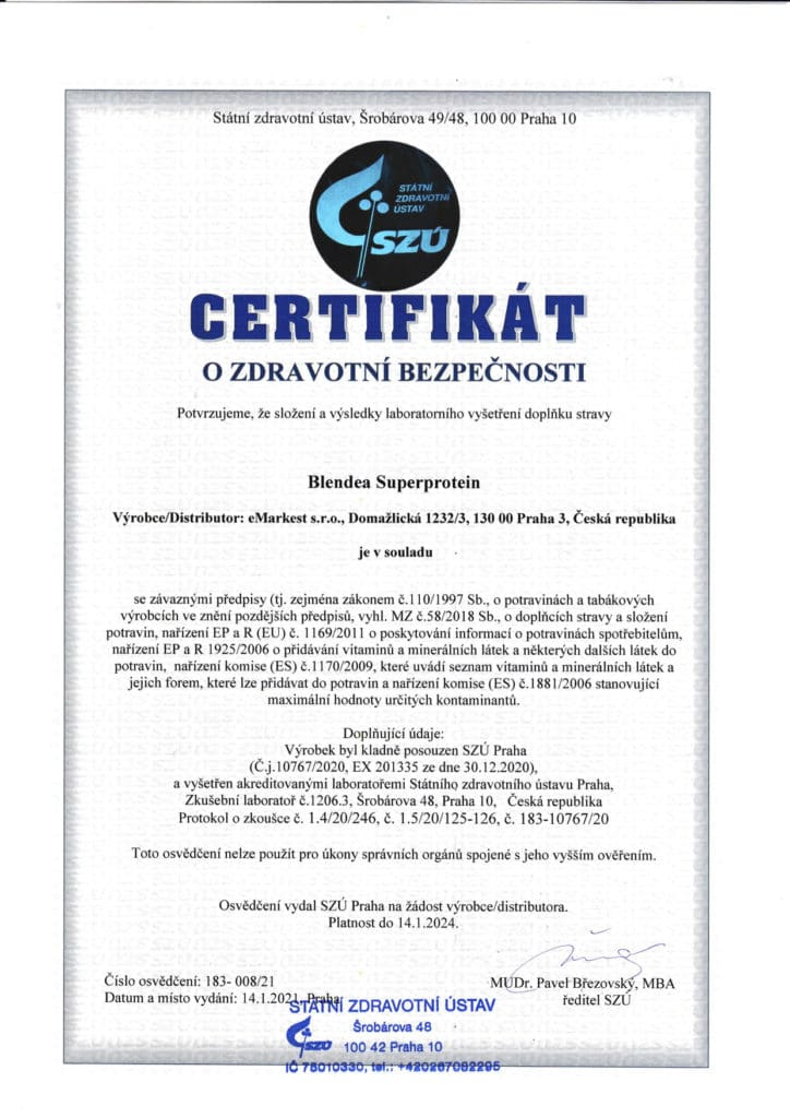 Blendea SUPERPROTEIN certifikát SZÚ
