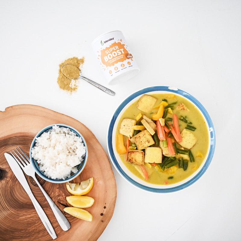 Recept na asijské tofu na kari s kokosovým mlékem